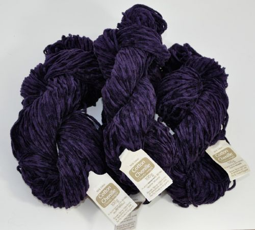 400g Rowan Chunky cotton chenille rich purple 4X100g skeins
